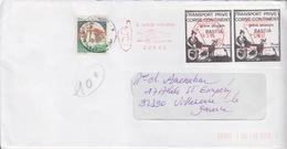 EMA à 0,00 Bastia (Poignée De Mains, à Votre Service) Le 14.3.95 Oblitérant 2 Timbres De Grève. Par L'Italie - Staking