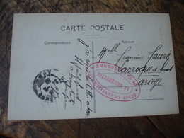 Carcassonne Depot Convalescents   Cachet Franchise Postale Guerre 14.18 - Marcofilie (Brieven)