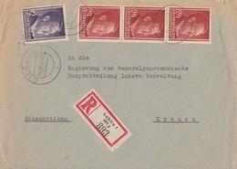 GG R-Brief Mif Minr.75,3x 78 Lublin 14.10.42 Gel. Nach Krakau - Occupation 1938-45