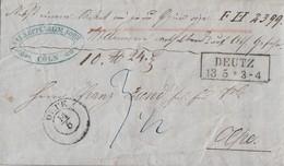 Preussen Paketbegleitbrief R2 Deutz 13.5. Gel. Nach K2 Olpe 14.5. Mit Inhalt - Prussia