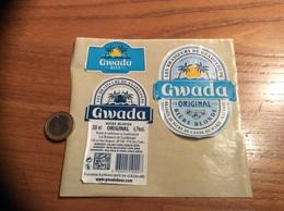 Etiquette ** De Bière + Collerette + Contre-Etiquette «Gwada - Brassée Au Sucre De Canne» (Guadeloupe, Caraïbes) - Bière