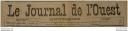 1892  JOURNAL DE L'OUEST - SAINT MARTIN L'ARS - COUSSAY LES BOIS - ETAT SANITAIRE DE POITIERS - GRANDES MANOEUVRES - Newspapers