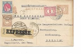 SH 0386. EP 2c + Affr. Complémentaire 18c 's GRAVENHAGE 10.IX.19 En EXPRES V. Schönenberg - BERLIN. - Entiers Postaux