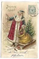 PERE NOEL - Joyeux Noël - Carte Gaufrée Et Dorée - Série 87 - Ohne Zuordnung