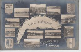 CPA Souvenir Du Léman (avec 4 Blasons Et 10 Cartes Autour Du Lac Léman) - GE Ginevra