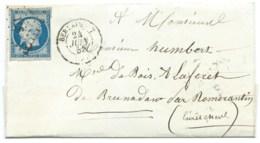 N° 14 BLEU NAPOLEON SUR LETTRE / BERLAIMONT POUR ROMORANTIN / 24 JUIN 1855 - 1849-1876: Période Classique