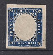 REGNO D'ITALIA 1863 EFFIGE DI VITTORIO EMANUELE II NON DENTELLATO SASS. 11 MLH VF - 1861-78 Vittorio Emanuele II
