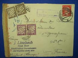 Allemagne France 1943 GREVENBROICH BOURCEFRANC Censure TAXE Paire 2f 10c Front De Lettre Cover Deutsches Reich - WW II