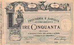 """09002 """"PREVIDENZA E FAMIGLIA - PROPOSTA DI POLIZZA DA LIRE CINQUANTA - 1907"""" PUBBLICITA' SU FAC SIMILE DI POLIZZA, ORIG. - Advertising"""