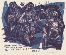 Nieuwjaarskaart 1957 Gianni Mantero - Ru Van Rossem (1934-2002) Gesigneerd - Prenten & Gravure