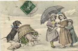 V.K.VIENNE Illustrateur  Fillettes Sous Un Parapluie Cochons Et Chien Jouant Avec Un  Parier Plein De Gui RV - Escenas & Paisajes
