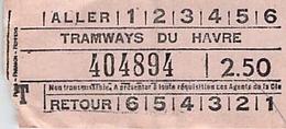 Vieux Papiers  TICKET   Tramways Du Havre 2f50 - Europa