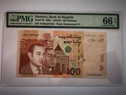 MAROC -100 DIRHAMS-2002-PICK 70 **PMG 66 EPQ GEM UNC** - Marokko