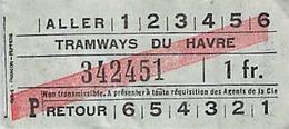 Vieux Papiers  TICKET  1 F Tramways Du Havre - Europa