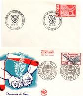 Donneurs De Sang  - BT Paris 1959 + Tours 1966 - Coeur - Marcophilie (Lettres)