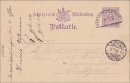 Württemberg:  Ganzsache Von Neckartailfingen Nach Stuttgart - 1884 - Bahnstempel - Wuerttemberg
