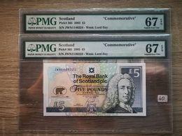 2 X SCOTLAND P# 365 2005 5 POUNDS COMMEMORATIVE PMG 67 UNC**Consecutive** - Schotland