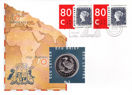 NVPH FDC Numisletter 3 1631  X2   Ile Maurice 1847 Ecu Lettre Letter Brief Pays-Bas 17-1-1995 Mauritius X Dimension L17, - FDC
