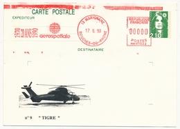 "FRANCE - Entier 2,10 Briat Repiquage ""TIGRE"" - Oblit EMA Rouge Aerospatiale - MARIGNANE 17/06/1990 - Hélicoptères"