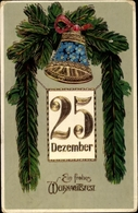 Lithographie Glückwunsch Weihnachten, Kalenderblatt 25 Dezember, Glocke - Noël