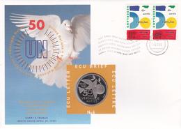 1,0006 NVPH FDC Numisletter 6 1645  X2  Colombe Cinquantenaire De L'Organisation Des Nations Unies Ecu Lettre Letter Bri - FDC