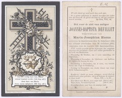Belgique - Mortuaire : Joannes-Baptista Defillet Bautersem 24/2/1824 - 26/10/1891 (Bouasse-Lebel & Massin 172) - Obituary Notices