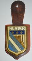 Rare Insigne Sur Patte De Cuir CRS 33 - Polizia