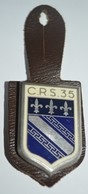 Rare Insigne Sur Patte De Cuir CRS 35 - Police & Gendarmerie