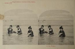 Stereo - AK // Strand - Beach Fun // In Den Wellen No. 2. Ca 189? - Ansichtskarten