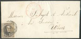 N°6 - Médaillon 10 Centimes Brun, TB Margé, Obl. P.94 Sur Lettre De PERUWELZ Du 26 Novembre 1851 + Boîte L De BLATON Ver - Belgio