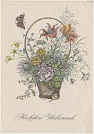 DDR Telegramm Schmuckblatt Télégramme De Bijoux Lx 45 Fleurs De Voeux De Papillon Flowers Butterfly Greeting - DDR