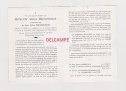 DOODSPRENTJE DECAESTECKER MARIA ECHTGENOTE SLEMBROUCK VLADSLO ZARREN 1896 - 1960 - Images Religieuses