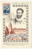 TUNISIE - Carte Fédérale - Journée Du Timbre 1946 TUNIS - Fouquet De La Varane + Vignette Antituberculeuse Au Dos - Tunisie (1888-1955)