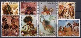 Paraguay 1976 US Bicentennial, Paintings, Indians Set Of 8 MNH - Us Independence
