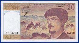 20 FRANCS DEBUSSY NEUF PAS DE TROU X.022 N° 644672 ANNÉE 1987 - 2 SCAN - Serbon63 - 20 F 1980-1997 ''Debussy''