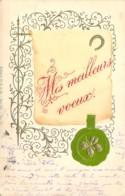 Carte Fantaisie Gaufrée Et Dorée De Meilleurs Voeux Circulé En Décembre 1898 - Año Nuevo