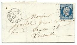 N° 14 BLEU NAPOLEON SUR LETTRE / NONANCOURT POUR VERSAILLES / 14 JUIN 1855 - 1849-1876: Classic Period