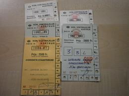 Lot De 5 Cartes Entrée Football KON VOETBALKLUB KORTRIJK - Tickets - Vouchers
