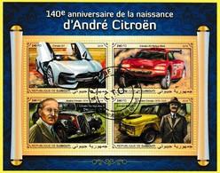 Bloc Feuillet Oblitéré De 4 Timbres-poste - 140e Anniversaire De La Naissance D'André Citroën - Djibouti 2018 - Djibouti (1977-...)