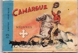 Ga03V  Camargue Méjanes Carnet Depliant 10 Cp Gardian Manade Chevaux Taureaux Ferrade Henry Couve Ricard - Frankrijk