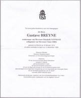 WERVIK IEPER Gustave BREYNE 1914-1998 Ancien Ministre Ancien Député Et Sénateur Parti Socialiste - Obituary Notices