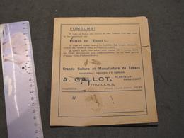 TABAC DE LA SEMOIS OU D'OBOURG - PLANTEUR FABRICANT - A GALLOT THUILLIES - DEPLIANT AVEC TARIFS - Documents