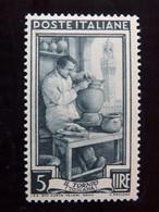 """ITALIA Repubblica -1950- """"Lavoro"""" £. 5 Filigrana Lettere 10/10 Varieta' MNH** (descrizione) - 6. 1946-.. Republik"""
