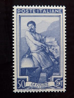 """ITALIA Repubblica -1950- """"Lavoro"""" C. 50 Filigrana Lettere 10/10 Varieta' MNH** (descrizione) - Variétés Et Curiosités"""