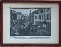 Ancienne Photo Encadrée Souvenir De Fleurus Marché Aux Bestiaux (dim 32-42) - Non Classés
