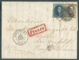 N°6/7 - Médaillons 10 Et 20 Centimes Obl. P/24 Sur Lettre De BRUXELLES Le 14 Juin 1855 + Griffes PD Et FRANCO Vers Viers - Belgio