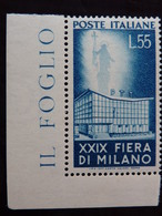 "ITALIA Repubblica -1951- ""Fiera Milano"" £. 55 Filigrana Lettere 10/10 Varieta' MNH** (descrizione) - Variétés Et Curiosités"
