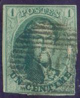 N°9 - Médaillon 1 Centime Vert, à Peine Touché Sinon Belle Oblitération P.90 OSTENDE Anormale Sur Cette Valeur .. Rare - - 1858-1862 Médaillons (9/12)