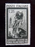 """ITALIA Repubblica -1951- """"Ciclismo"""" £. 25 Filigrana Lettere 12/10 Varieta' MNH** (descrizione) - 6. 1946-.. Republik"""