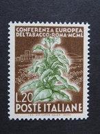 """ITALIA Repubblica -1950- """"Tabacco"""" £. 20 Filigrana Lettere 17/10 Varieta' MNH** (descrizione) - 6. 1946-.. Republik"""